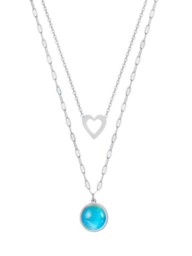 Titanium Steel Turquoise Heart Minimalist Multi Strand Necklace