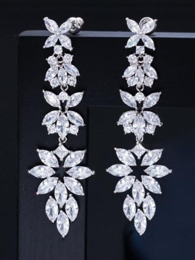 platinum Brass Cubic Zirconia Flower Statement Chandelier Earring