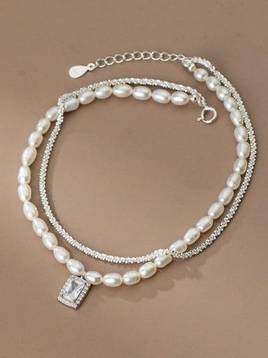 925 Sterling Silver Freshwater Pearl Geometric Minimalist  Anklet