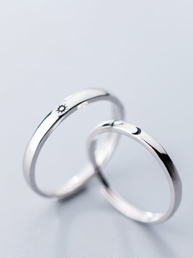 925 Sterling Silver Minimalist  sun moon Halo Ring