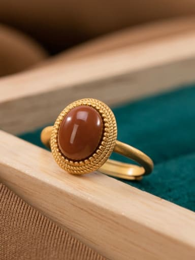 925 Sterling Silver Carnelian Geometric Vintage Band Ring