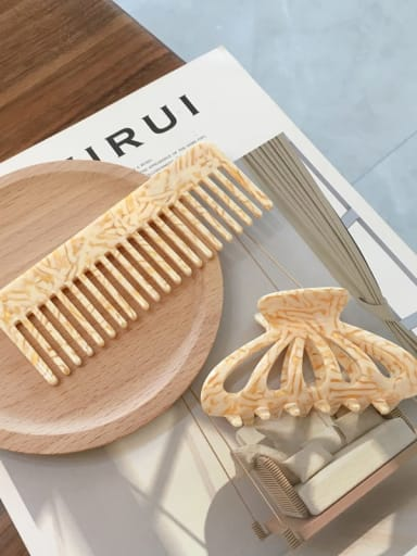 Suit stripe cream Cellulose Acetate Vintage Comb hairpin two-piece set
