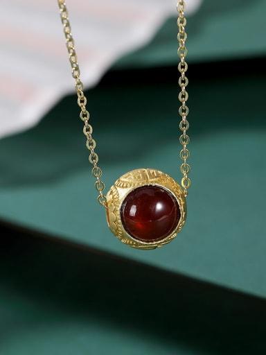 925 Sterling Silver Garnet Round Vintage Bracelet