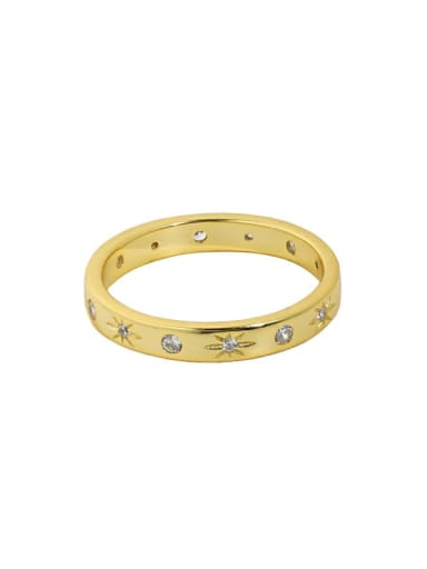 18K gold 925 Sterling Silver Cubic Zirconia Star Minimalist Band Ring