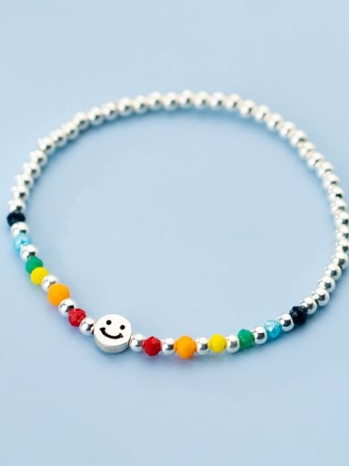 925 Sterling Silver Bead Smiley Minimalist Beaded Bracelet
