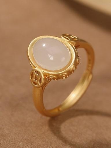 925 Sterling Silver Jade Geometric Vintage Band Ring
