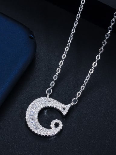 Letter C with chain Copper Cubic Zirconia Message Minimalist letter pendant Necklace