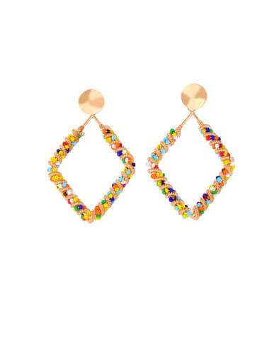 diamond Alloy Imitation Pearl Heart Ethnic Drop Earring