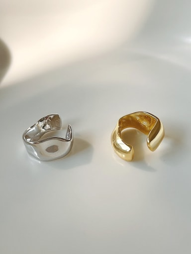 925 Sterling Silver Irregular Vintage Clip Earring