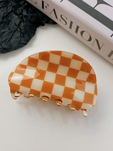 Orange white check 8.7cm PVC Minimalist Irregular Alloy Multi Color Jaw Hair Claw