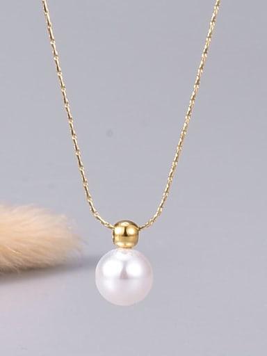 Titanium Steel Imitation Pearl Round Minimalist Necklace