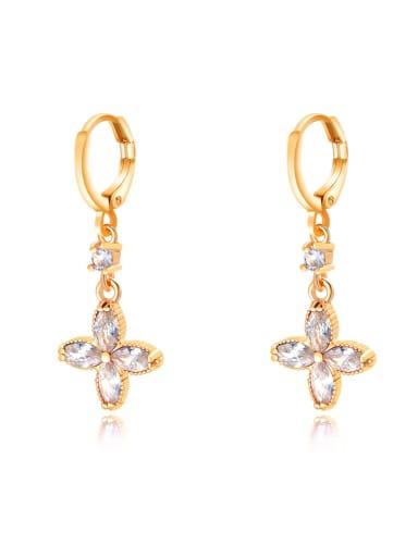 728 White Diamond Brass Multi Color Cubic Zirconia Geometric Dainty Huggie Earring