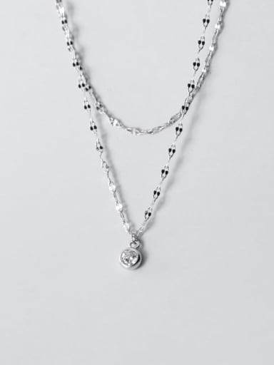 925 Sterling Silver Rhinestone Star Minimalist Multi Strand Necklace
