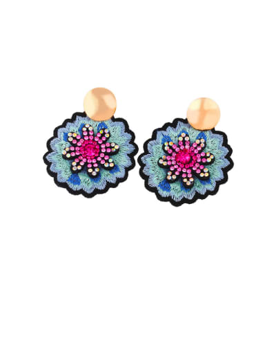 Alloy Rhinestone Flower Ethnic Drop Earring