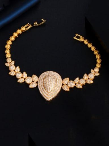 Copper Cubic Zirconia Water Drop Statement Bracelet