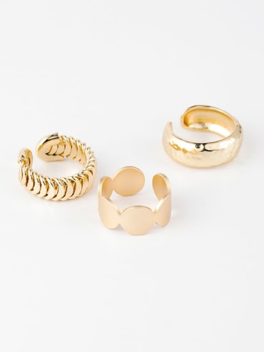 Brass Smooth  Irregular Minimalist Free Size Ring