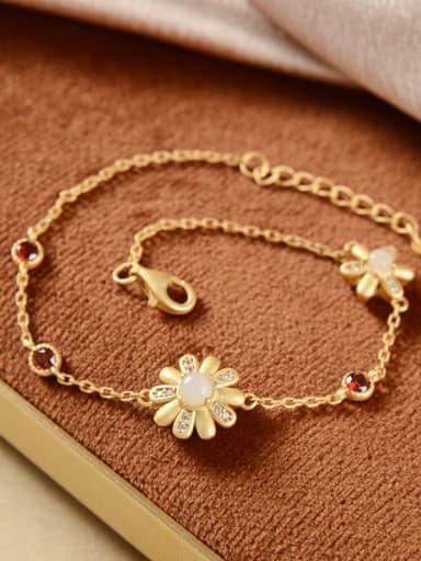 Hotan jade 925 Sterling Silver Carnelian Flower Vintage Link Bracelet