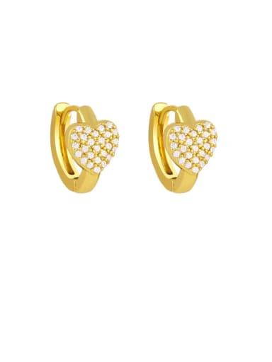 white Brass Cubic Zirconia Heart Bohemia Stud Earring
