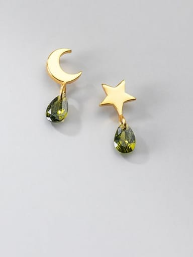 925 Sterling Silver Cubic Zirconia Water Drop Minimalist Asymmetry stars moon  Drop Earring