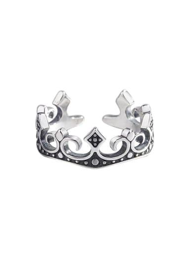 925 Sterling Silver Cubic Zirconia Crown Vintage Midi Ring