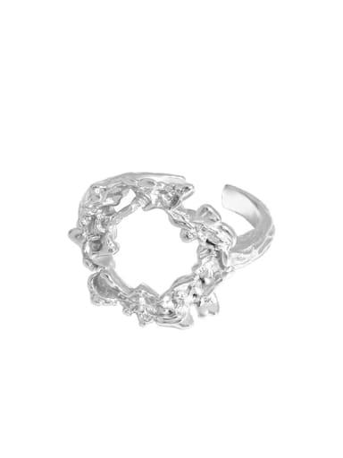 Silver [size 15 adjustable] 925 Sterling Silver Hollow Irregular Vintage Band Ring