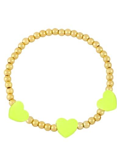yellow Brass Enamel Heart Trend Beaded Bracelet