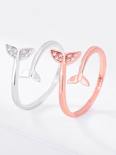 rose gold 925 Sterling Silver Cubic Zirconia Fish Minimalist Band Ring