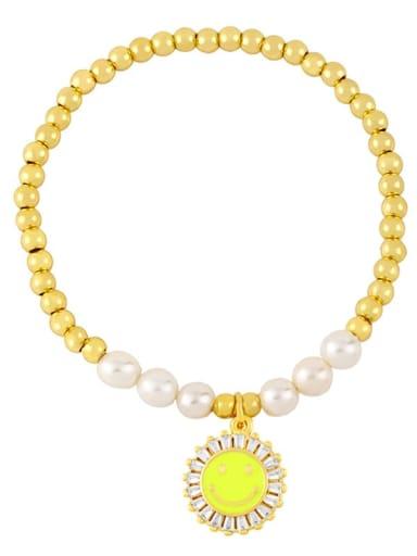 yellow Brass Imitation Pearl Enamel Smiley Trend Beaded Bracelet