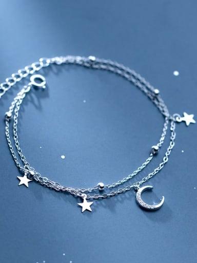 925 Sterling Silver Cubic Zirconia Moon Trend Strand Bracelet