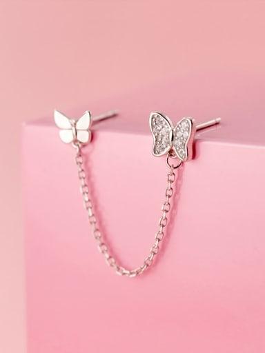 Silver 925 Sterling Silver Cubic Zirconia Butterfly Minimalist Threader Earring