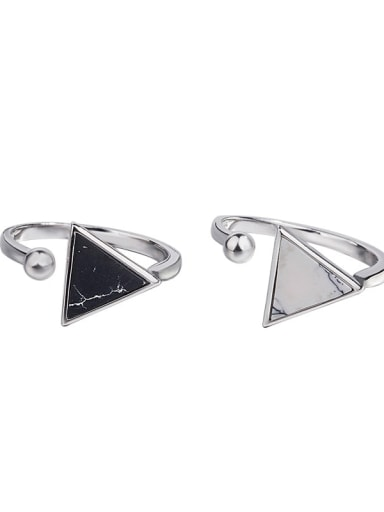 925 Sterling Silver  Vintage Simple geometric triangle black and white turquoise  Band Ring