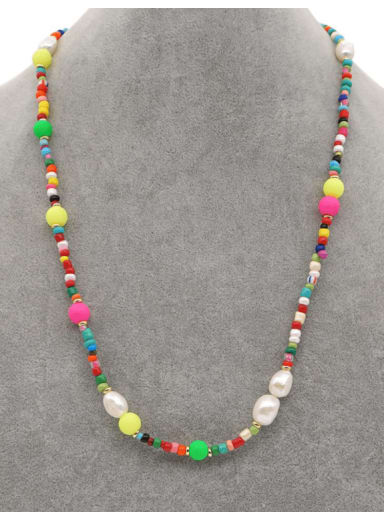 Stainless steel Imitation Pearl Multi Color Bohemia Necklace