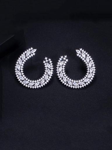 Platinum Brass Cubic Zirconia Geometric Luxury Cluster Earring