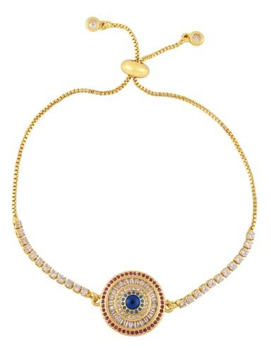Brass Cubic Zirconia Evil Eye Vintage Link Bracelet