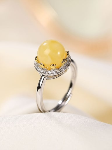 925 Sterling Silver Amber Round Vintage Band Ring