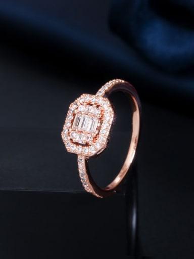 Copper Cubic Zirconia Geometric Dainty Band Ring