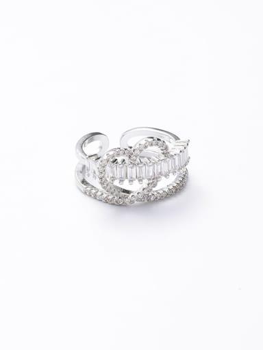B platinum Zinc Alloy Cubic Zirconia White Free Size Ring