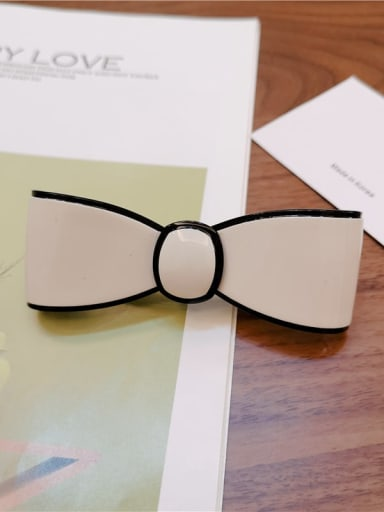 9cm off white Cellulose Acetate Minimalist Bowknot Alloy Hair Barrette