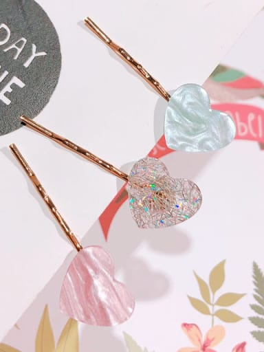 Alloy Cellulose Acetate Minimalist Heart Hair Pin