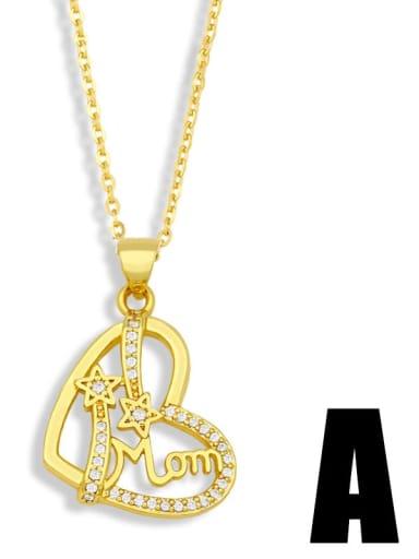 Brass Cubic Zirconia Mom Heart Minimalist Necklace