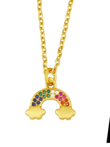 Brass Cubic Zirconia  Vintage Rainbow Pendant Necklace
