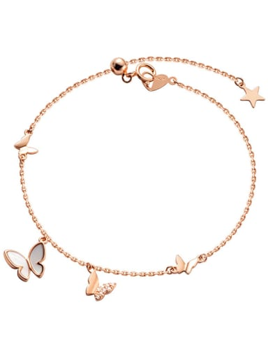 rose gold 925 Sterling Silver Shell Butterfly Minimalist Link Bracelet