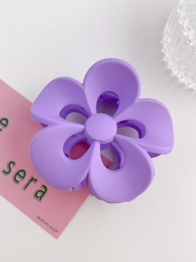 Purple 8cm Alloy Resin Trend Flower  Jaw Hair Claw