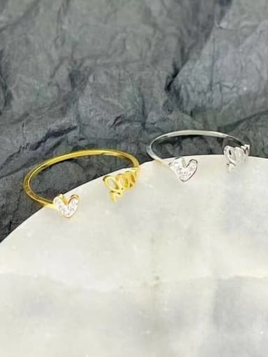 Titanium Steel Cubic Zirconia Letter Minimalist Stackable Ring