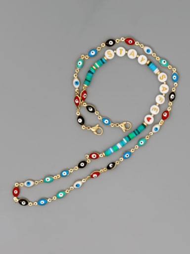 JS N200014A Stainless steel Bead Multi Color Polymer Clay Evil Eye Bohemia Hand-woven Necklace