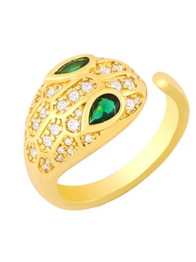 Brass Cubic Zirconia Snake Hip Hop Band Ring