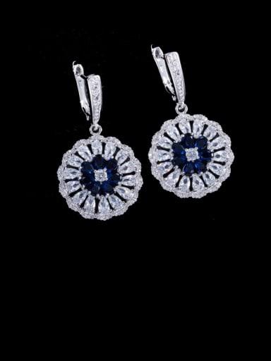 blue Brass Cubic Zirconia Geometric Luxury Cluster Earring