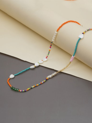 Multi Color  Glass beads Heart  Shell  Bohemia Necklace