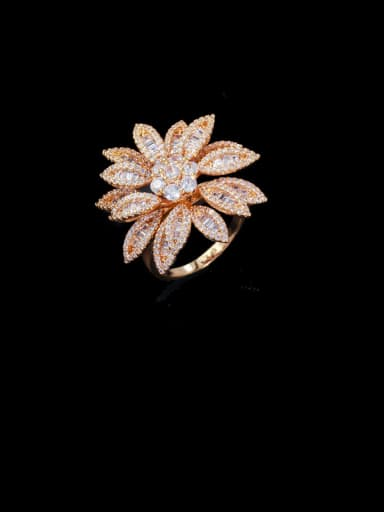 US 7# Copper With Cubic Zirconia Fashion Flower Statement Free Size Rings