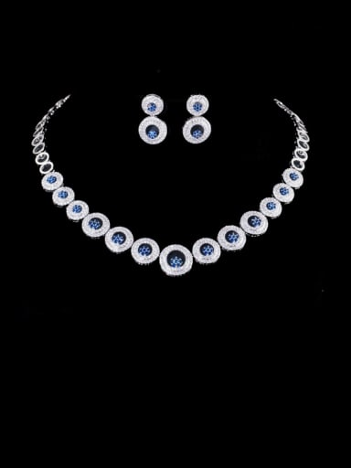 blue Brass Cubic Zirconia Luxury Round  Earring and Necklace Set